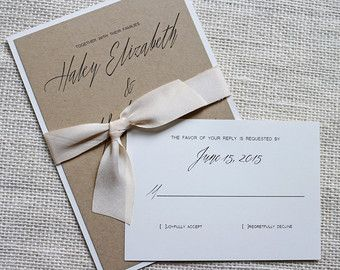 Rustic Modern Chic Wedding Invitation Simple & by aLukeDesigns