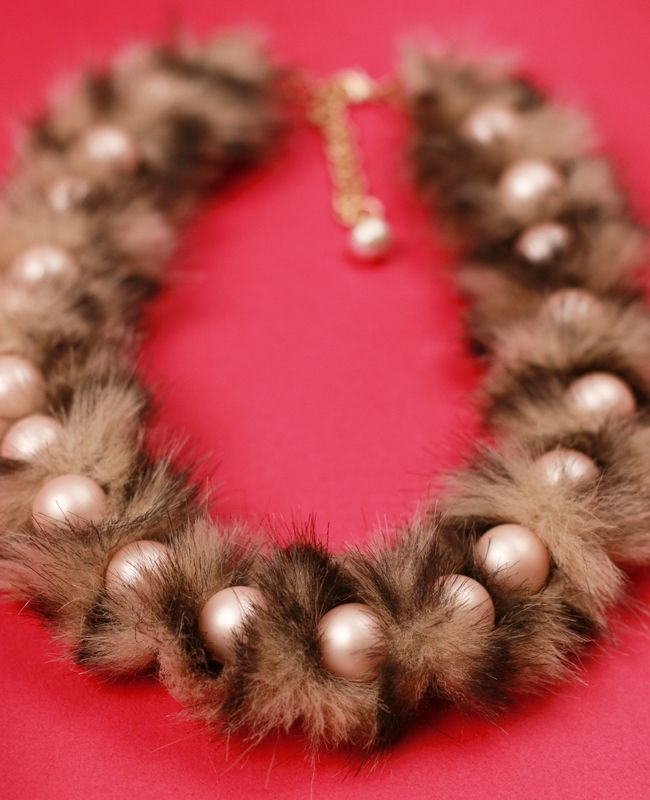 Craft Tutorial: Faux Fur Pearl Necklace                                                                                                                                                      More