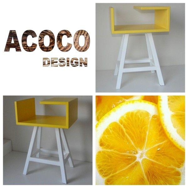 Stolik nocy, kawowy żółty białe nogi stolikAA - acoco-style - Szafki nocne