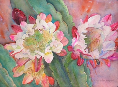 "ELEANOR ERICKSON HARGRAVE  CONTEMPORARY IMPRESSIONIST  TUESDAY, FEBRUARY 2, 2010  Cactus Flowers, 15"" x 20"", Watercolor (Available) Showing at Pepe's Restaurant, Montrose"