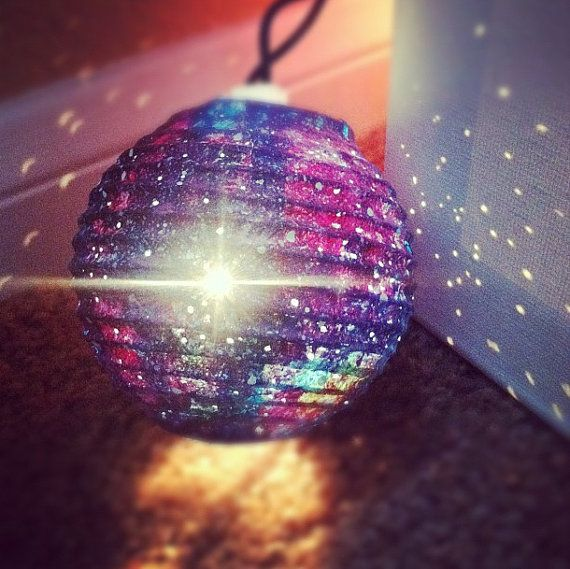 Galaxy Light Paper Lanterns by OwnTheSkyART on Etsy. Materials:paper, lanterns, lights, gouache, paint.