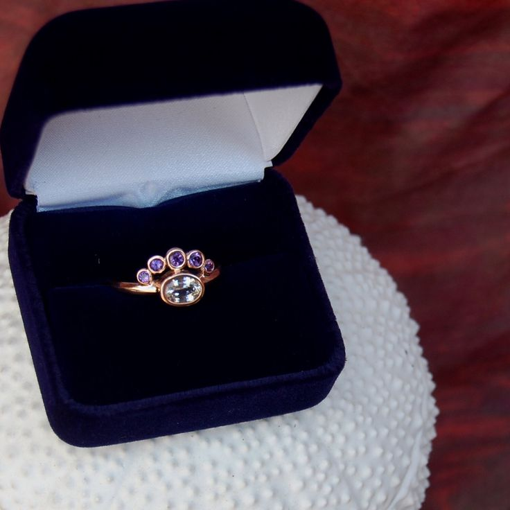Rose gold amethyst wedding ring by Goldmakers Fine Jewelry