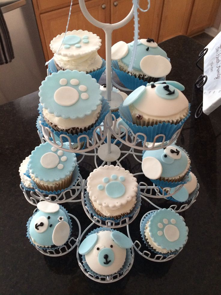Puppy themed cupcakes I made for a baby shower.