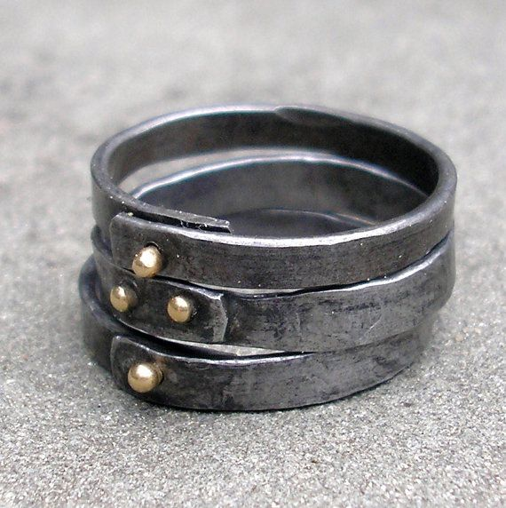 Gold and Steel Rings.  Riveted Stacking Rings of Forged Steel and 18 KT Gold.