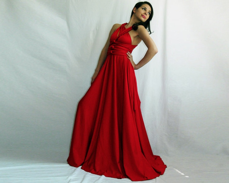 bridesmaid dress red dress Convertible Infinity Wrap Chameleon Maxi Dress Red. $79.00, via Etsy.