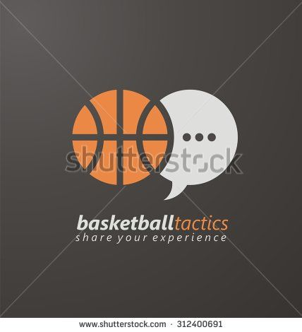 Basketball creative logo design concept for website, blog or portal. Sport symbol layout. Basketball tactics, share your experience. Unique flat icon template with ball and speech bubble.