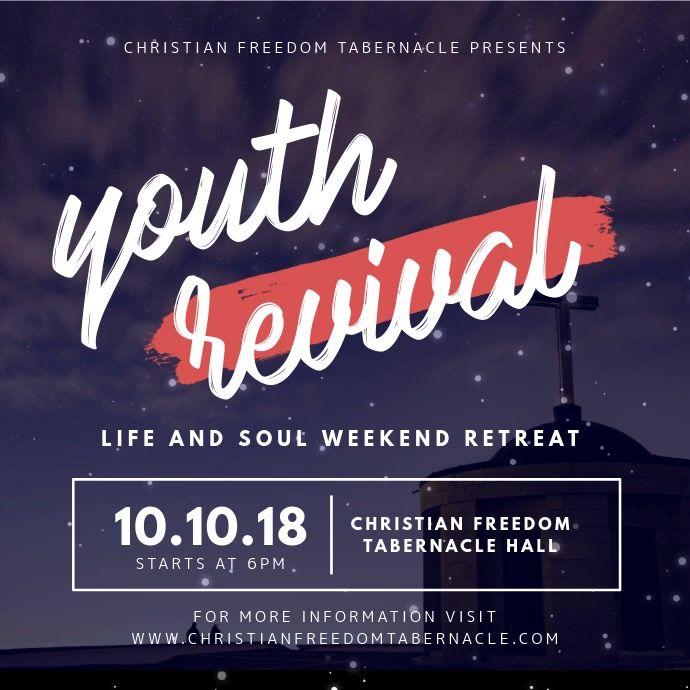 Youth Revival Event Square Video Ad Church Media Design Church Poster Design Church Graphic Design