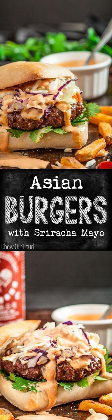 Hamburger Recipes - The BEST Ground Beef Asian Burgers ready for the grill with Sriracha Mayo - Recipe via Chew Out Loud #burgers #gourmetburgers #burgerrecipes #cookouts #grilling #barbecue #hamburgers #fathersday #fathersdayfood #bbq #partyfood #tailgat