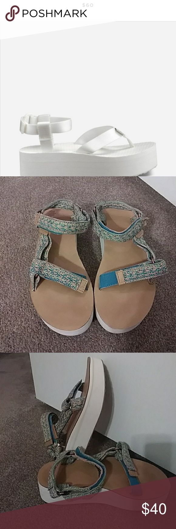 Teva sandles flatform. Minor scuff marks on sides. Written once.  Velcrow adjustment straps. Teva Shoes Sandals