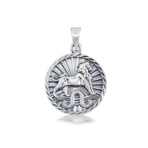 Bling Jewelry Sterling Silver Zodiac Leo Large Disc Pendant