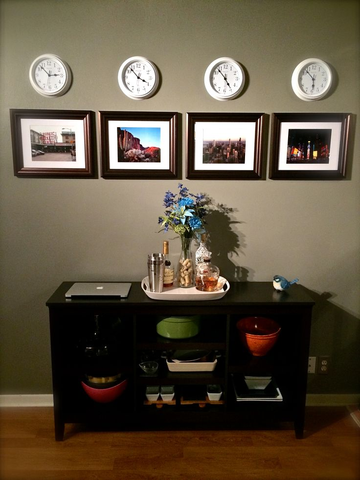 Time Zone Wall Design: Display your own original pictures from each time zone visited, with clocks reading the corresponding times hanging above. #travel #design