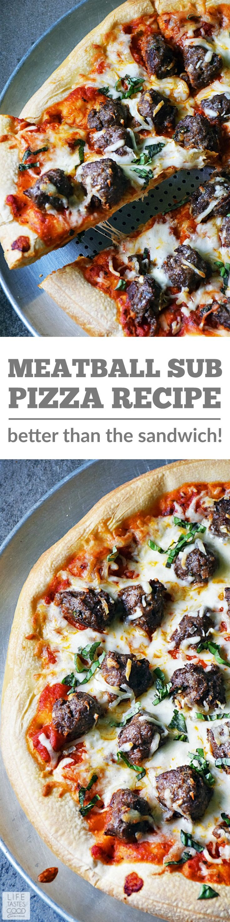 This incredibly tasty Meatball Sub Pizza is even better than the traditional sandwich! It's easy to make using leftover meatballs and red sauce and store bought pizza dough for a quick and easy dinner the whole family will love! #LTGrecipes