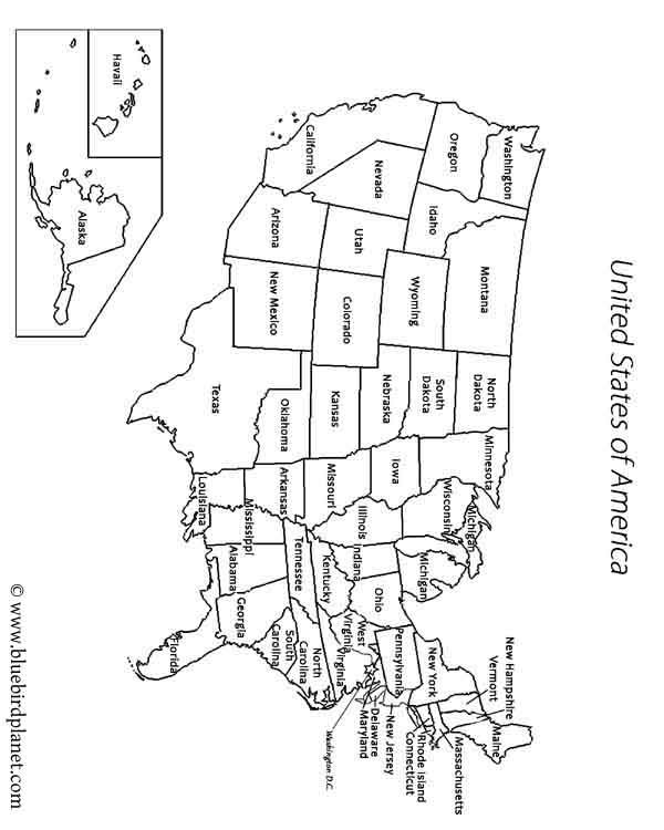 Free printable worksheets for preschool, Kindergarten, 1st, 2nd, 3rd, 4th, 5th grades. USA states map.
