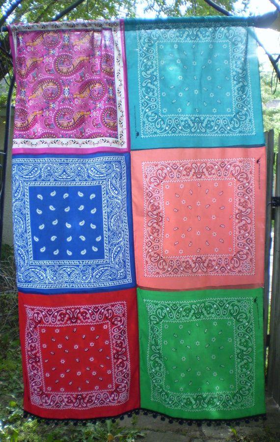 Colorida cortina de Boho Boho Bandana cortina por SGArtandFashion