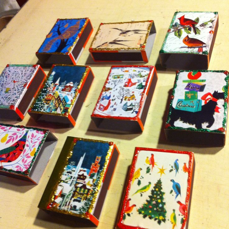 Christmas 2014 Decoupage matchboxes ... So much fun to do!