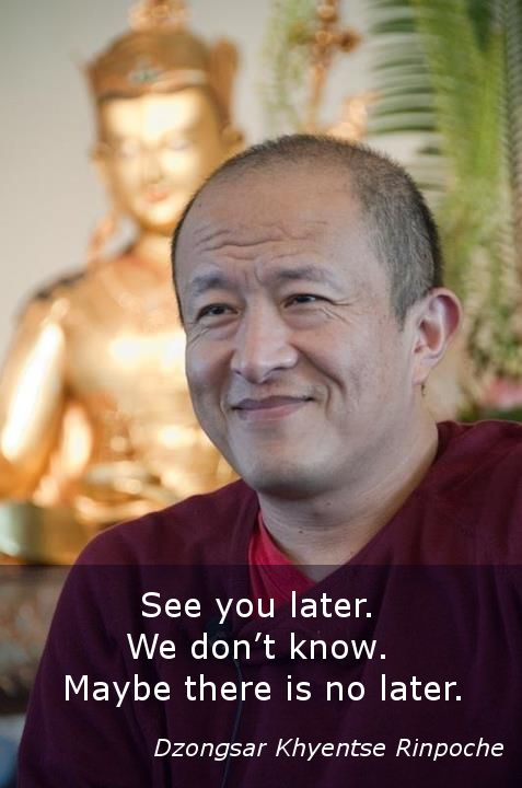 See you later ~ Dzongsar Khyentse Rinpoche http://justdharma.com/s/2iuej  See you later. We don't know. Maybe there is no later.  – Dzongsar Khyentse Rinpoche  source: http://dzongsar.justdharma.com/2011/01/03/see-you-later/