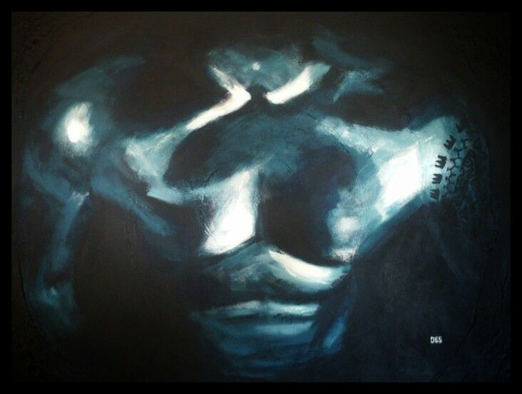 Painting chest man tattoo art abstract made by artist Jessica Immen from Holland Www.creativeartbyjessica.nl