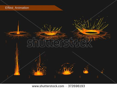 Vector effect. Effect for game. Explode effect animation. Cartoon explosion frames - stock vector