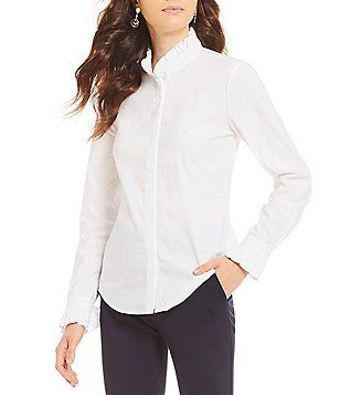 344035aa17c Antonio Melani Josie Novelty Shirting Ruffle Blouse