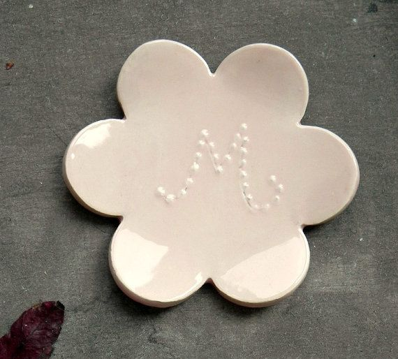 Personalized Ceramic Dish Pastel Pink Flower with by Ceraminic