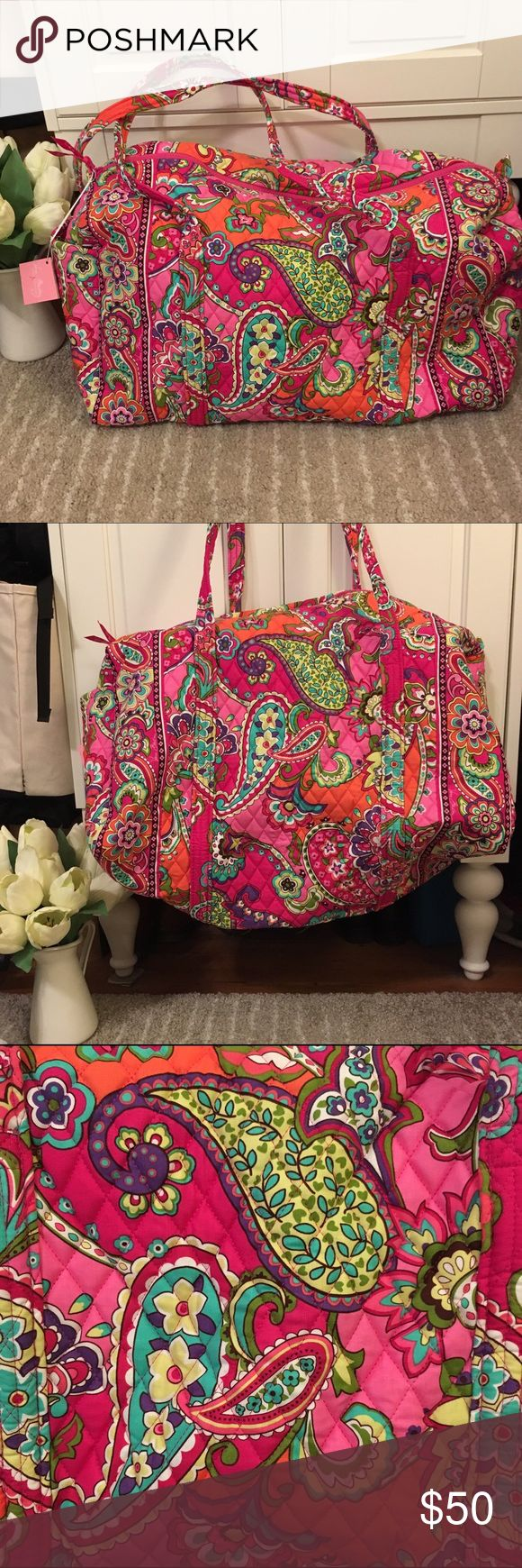 🎀NWT Vera Bradley Large Duffel Pink Swirls🎀 New with tags, Vera Bradley Large Duffel Pink Swirls. Retired pattern, hard to find! This duffel is the perfect size for a weekend getaway! Vera Bradley Bags Travel Bags