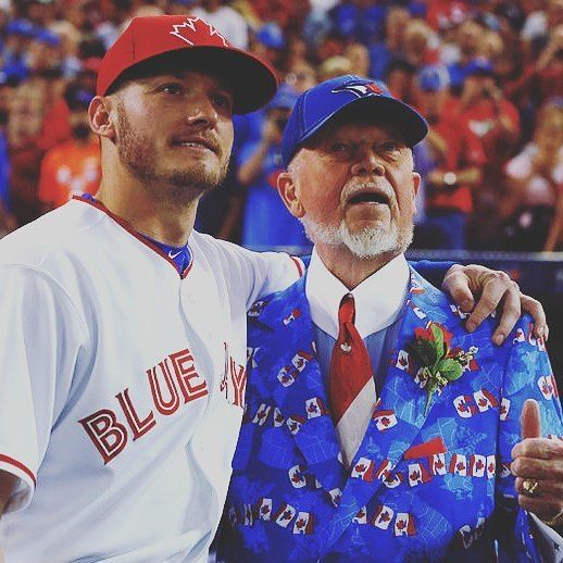 """My boy Josh Donaldson & Don Cherry singing take me out to the ball game in a few minutes  #cometogether…"""""""