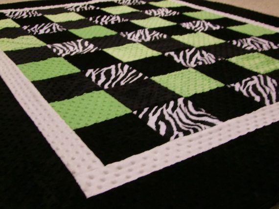 Zebra LIME and Black Minky Blanket Twin Size by tarascozycreations