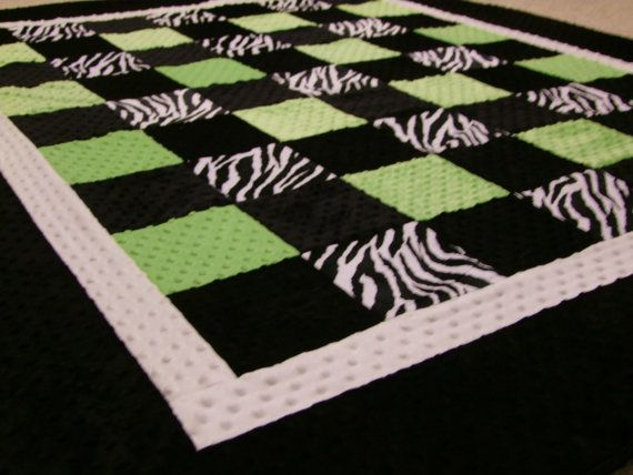 Zebra+LIME+and+Black+Minky+Blanket+Twin+Size+by+taramcwilliams,+$120.00