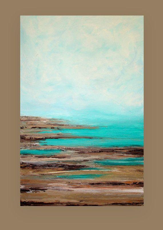 Mar marino acrílico pintura abstracta titulada: por OraBirenbaumArt