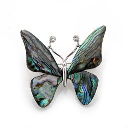 Mother of Pearl Brooch with Butterfly Design