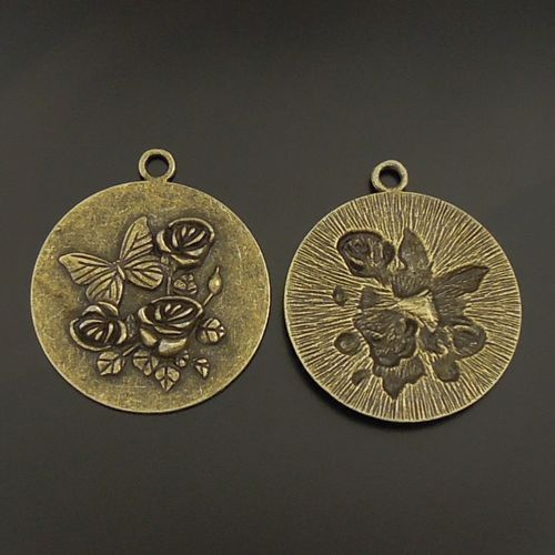 5pcs Antiqued Bronze Alloy Flower&Butterfly Round Pendant Charms 44*44mm 06035