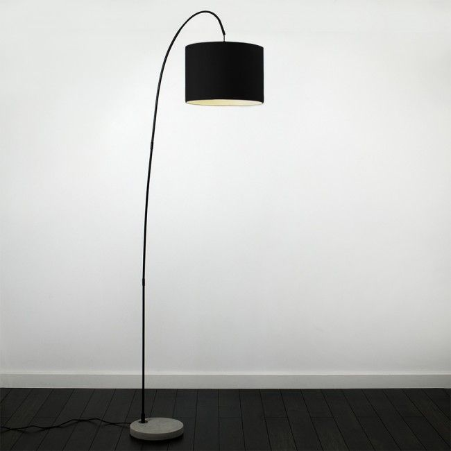 Contemporary 'Du'Bose' Black Curva Floor Lamp with Cream Shade - Light On