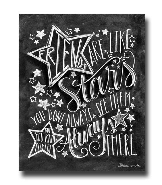 Chalk Art Chalkboard Art Friends Are Like Stars by TheWhiteLime, $17.00: