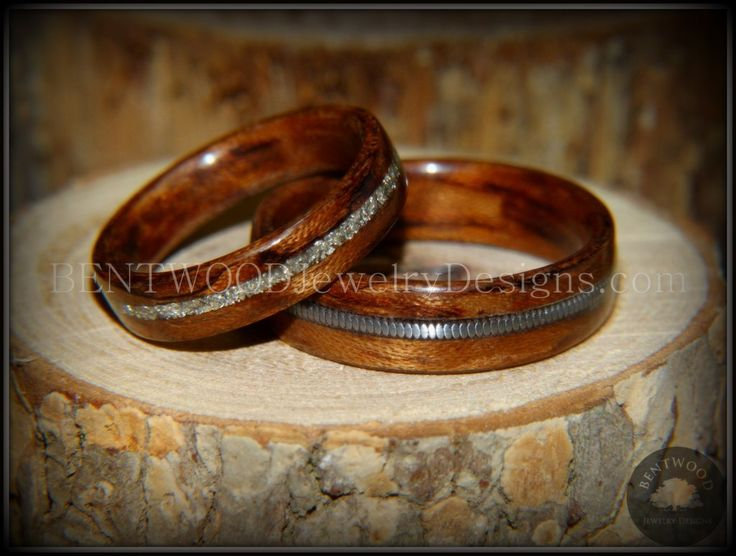 """Bentwood Rings Set - """"Waterfall"""" Bubinga Wood Ring Set with Glass Inlay and Guitar String Inlay - Bentwood Jewelry Designs - Custom Handcrafted Bentwood Wood Rings"""