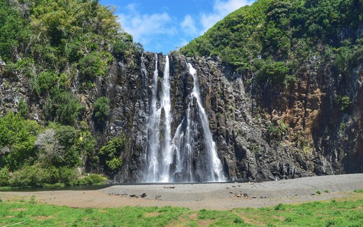 Download wallpapers high waterfall, rock, summer, lake, beautiful waterfalls