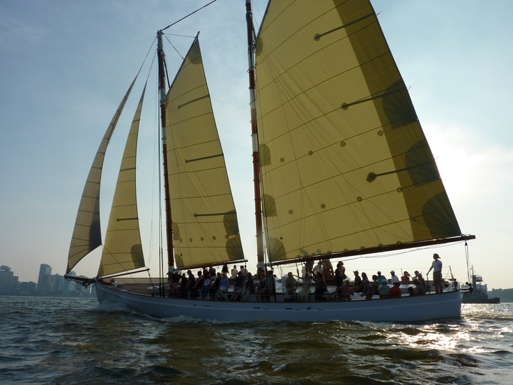 Ahoy!  Here, Schooner Adirondack is skipping along the waters of NYC's very own harbor.