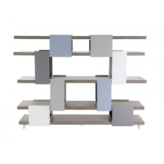 Bibliothèque modulable beton et metal Exception ZAGO