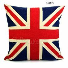 """Libero quadrato di trasporto 16 """"biancheria per la casa federe cuscino decorativo union jack bandiera degli stati uniti(China (Mainland))"""