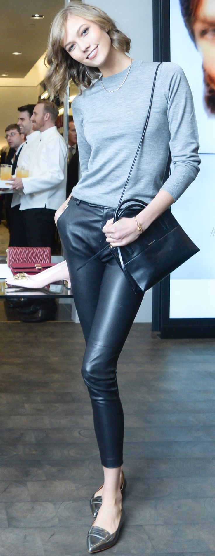 How adorable is Karlie Kloss in these @Coach, Inc., Inc. cropped leather pants