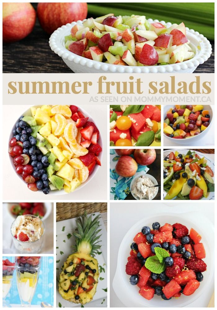 A fruit salad is the perfect dish to bring to a backyard BBQ or potluck during summer.  It also makes a great light dessert for warm summer evenings.  Try one of these delicious 13 SUMMER FRUIT SALADS.