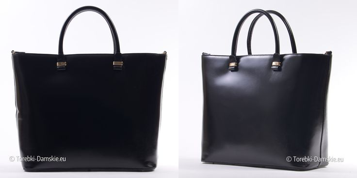 Nowy model torebki damskiej ze skóry naturalne w kolorze czarnym. Największa elegancka teczka damska ze skóry w ofercie sklepu Torebki-Damskie.eu