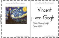 Artist Flash Cards - Famous Painters -Information: Famous Artist Flash Cards. Shows picture of artwork, artist name, name of artwork, and date the painting was created. (Print, Cut, Fold, Laminate)