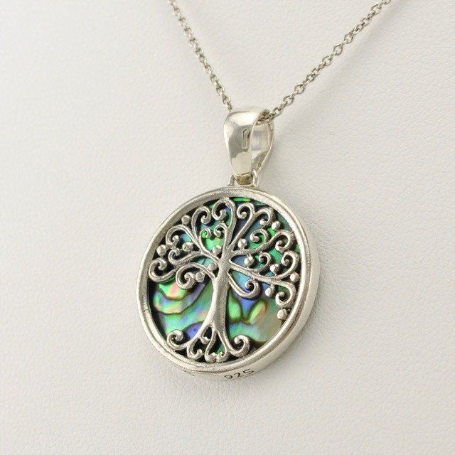 Sterling Silver Abalone Tree of Life Mini Pendant