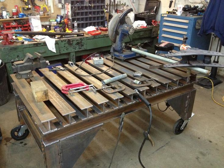 Beefy welding table made of scavenged i beams well h - Plan fabrication table ...