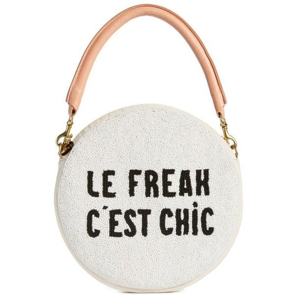 Women's Clare V. Le Freak Beaded Circle Clutch ($315) ❤ liked on Polyvore featuring bags, handbags, clutches, beaded white black le freak, black and white handbags, circle purse, leather clutches, two tone leather handbags and real leather purses