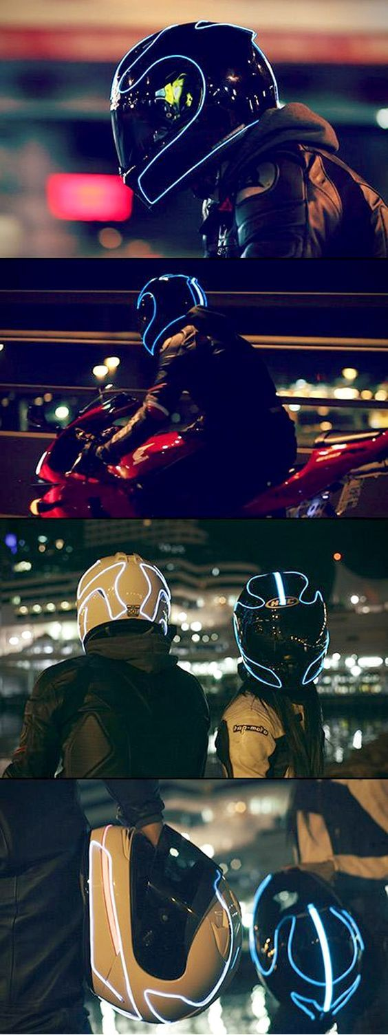 Helmet Lights - How to light up your helmet like Tron. EL wire is so simple that you can pretty much attach it on nearly anything including your motorcycle helmet, gear, and even your motorcycle. via @Bikerkarl