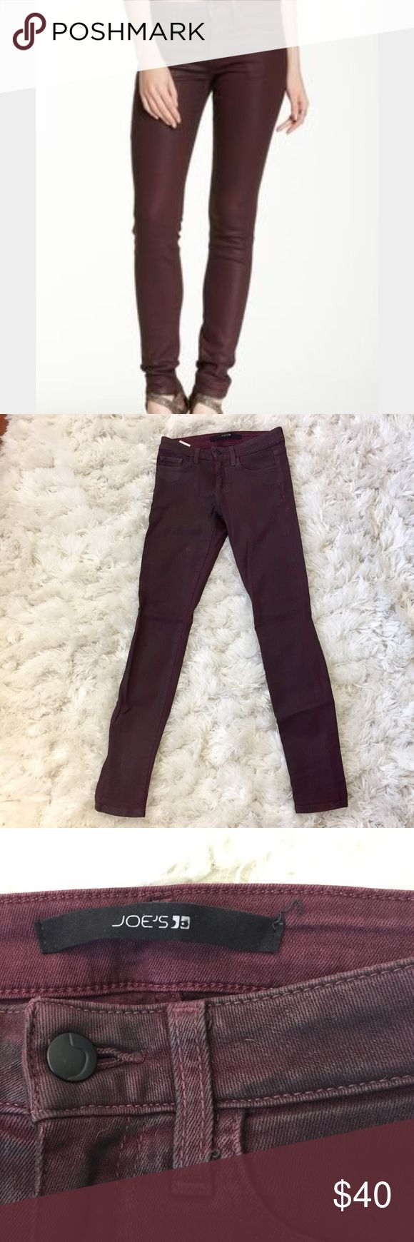 Joe's coated Skinny Jeans in Bordeaux Plum or wine colored wax coated skinny jeans. Only been worn once! Rock n roll baby Joe's Jeans Jeans Skinny