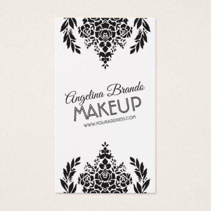 Floral Motives Makeup Artist Vintage Black Card - makeup artist gifts style stylish unique custom stylist