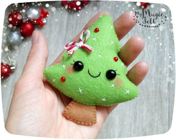 Adornos navideños fieltro fieltro de árbol de navidad ornamento decoración año…