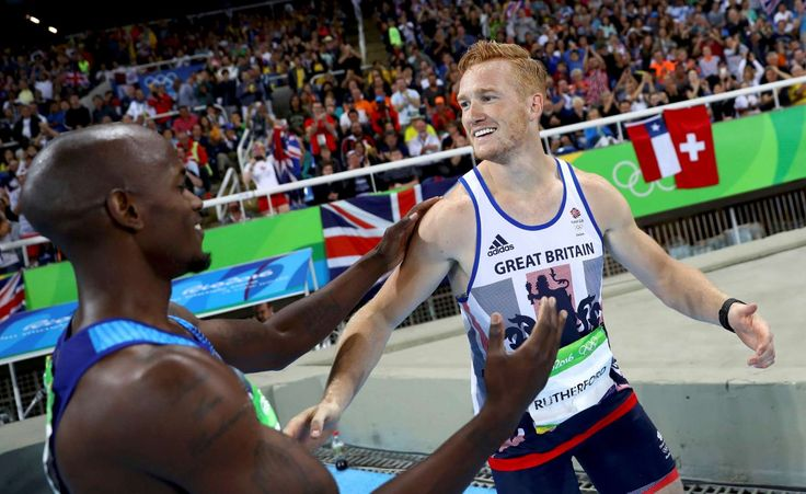 Jeff Henderson out-jumps Greg Rutherford:   Great Britain's Greg Rutherford (R) failed to defend his Olympic gold and had to settle for a bronze after USA's Jeff Henderson took home the men's long jump title. Rutherford is the reigning world, European and Commonwealth champion and was a favorite to win this event.